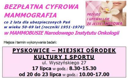 Bezpłatna mammografia w Pyskowicach